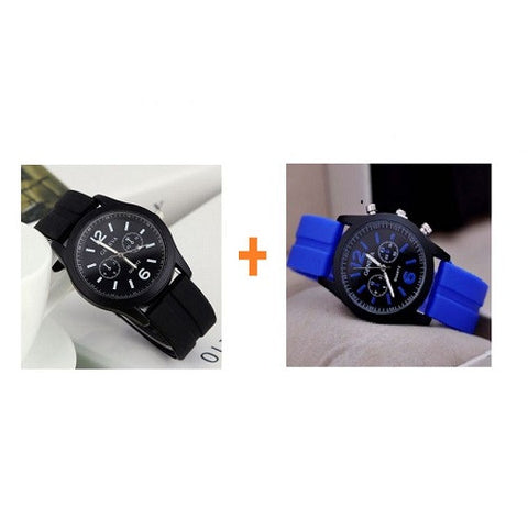 2 in 1 Geneva 9805 Silicone Unisex Wrist Watches -Blue and Black