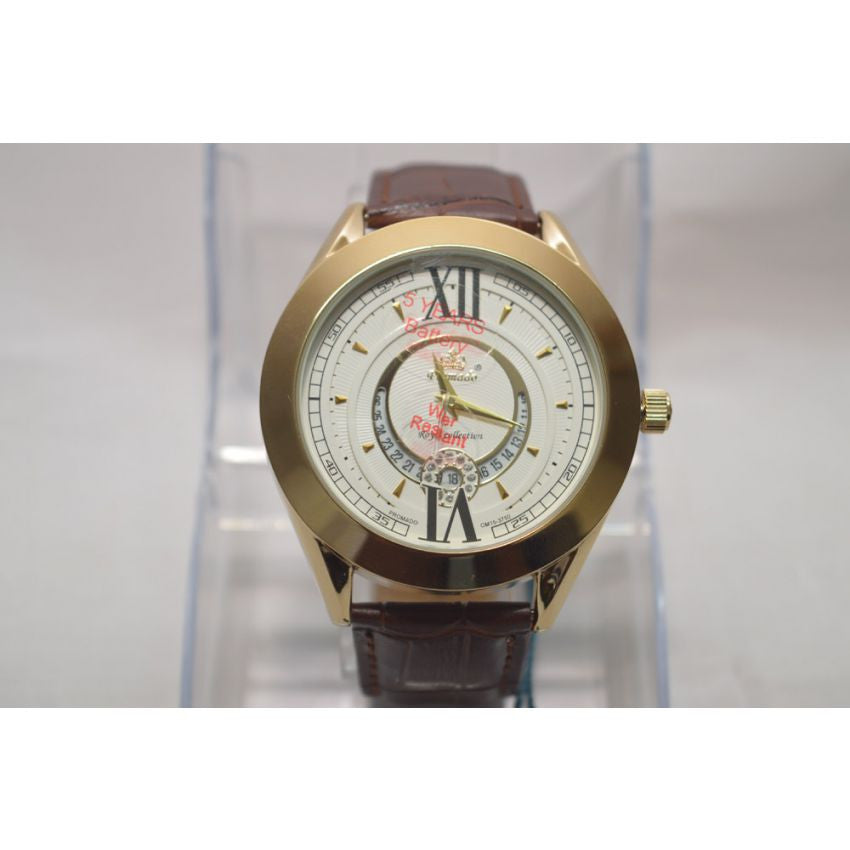 Promado B3750GDL 18K GOLD Leather White Face Watch