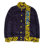 Style code BDFA1802. Brain Dead Corduroy Letterman Jacket Navy / Yellow