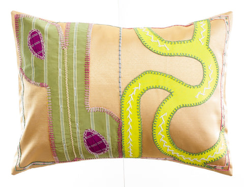 Cactus Design Embroidered Pillow on Gold