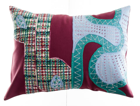 Cactus Design Embroidered Pillow on Dark Red