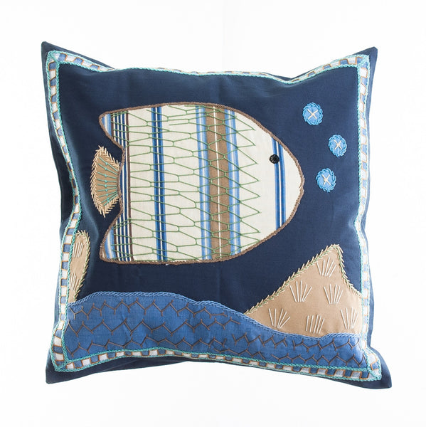 Pescado Design Embroidered Pillow on Navy