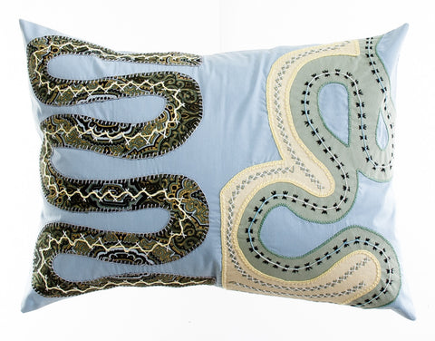 Rios Design Embroidered Pillow on light gray blue