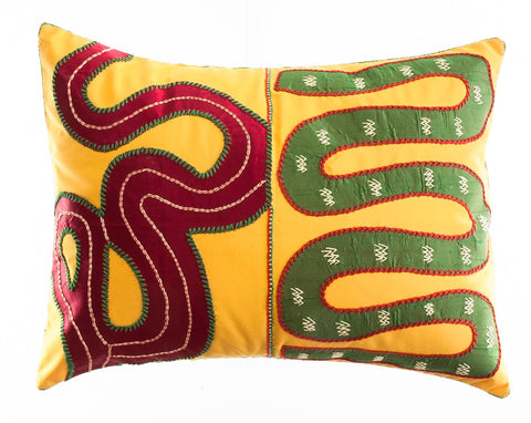 Rios Design Embroidered Pillow on gold