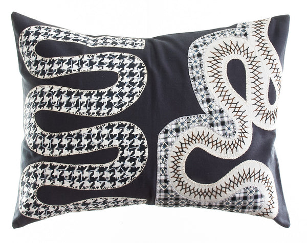 Rios Design Embroidered Pillow on charcoal