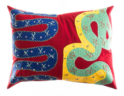 Rios Design Embroidered Pillow on red