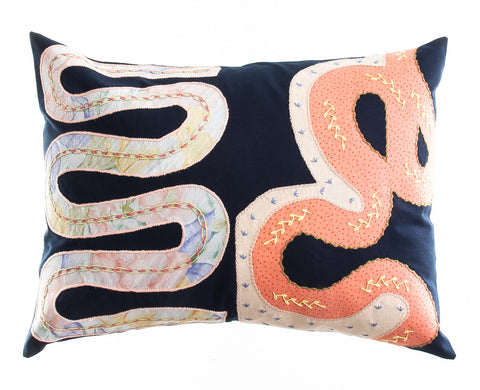 Rios Design Embroidered Pillow on navy