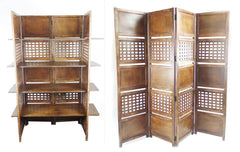 4 Panel Heavy Duty Indian Bookcase / Room Divider with 4 Shelves - Light Brown