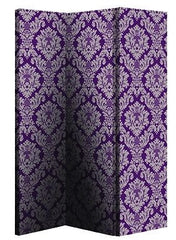Plum Damask Room Divider Screen