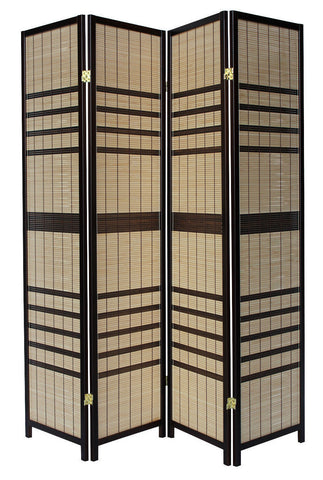 Light Cane Striped Room Divider Screen - 4 Panel
