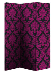 Image of Black & Pink Damask Room Divider Screen