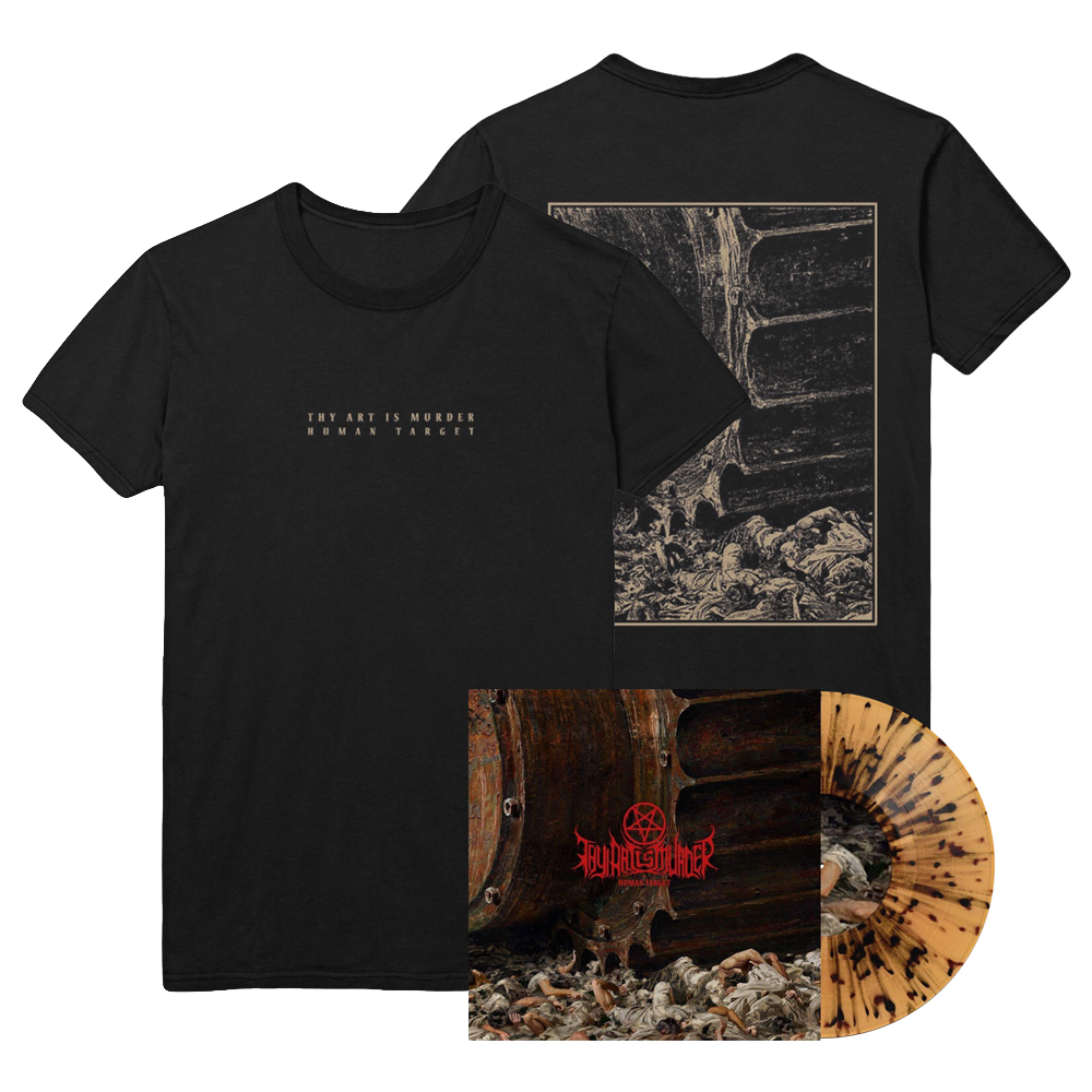 Human Target Vinyl / Tee Bundle (Transparent Beer with Black Splatter Vinyl) // PREORDER