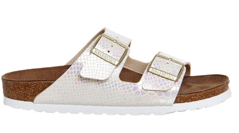 Birkenstock Arizona Shiny Snake Skin Cream