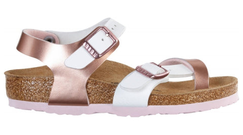 Birkenstock Kids Taormina Soft Metallics Rose White Top
