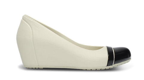 Crocs Cap Toe Wedge Stucco Black - Sole Central