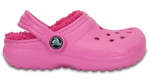 Crocs Kids Fuzz Lined Clog Party Pink Candy Pink