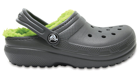 Crocs Kids Fuzz Lined Clog Slate Grey Volt Green