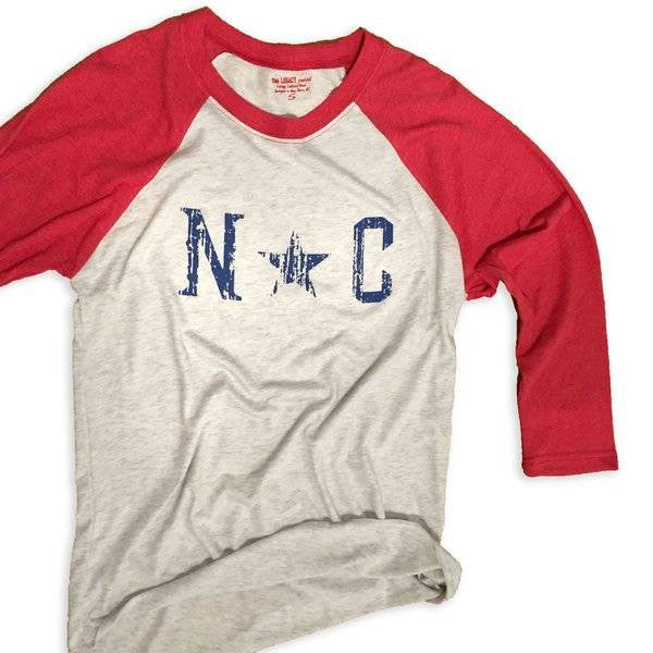 State Legacy Revival NC star baseball tee-red