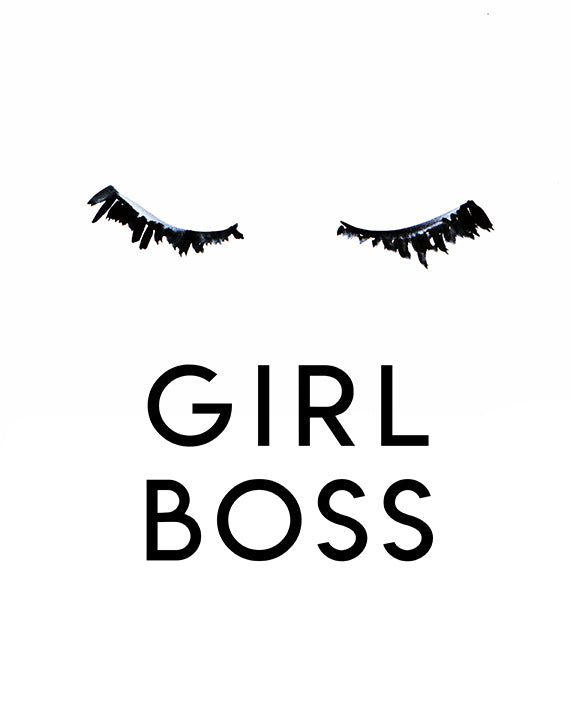 Girl Boss Eyelashes Black and White art print