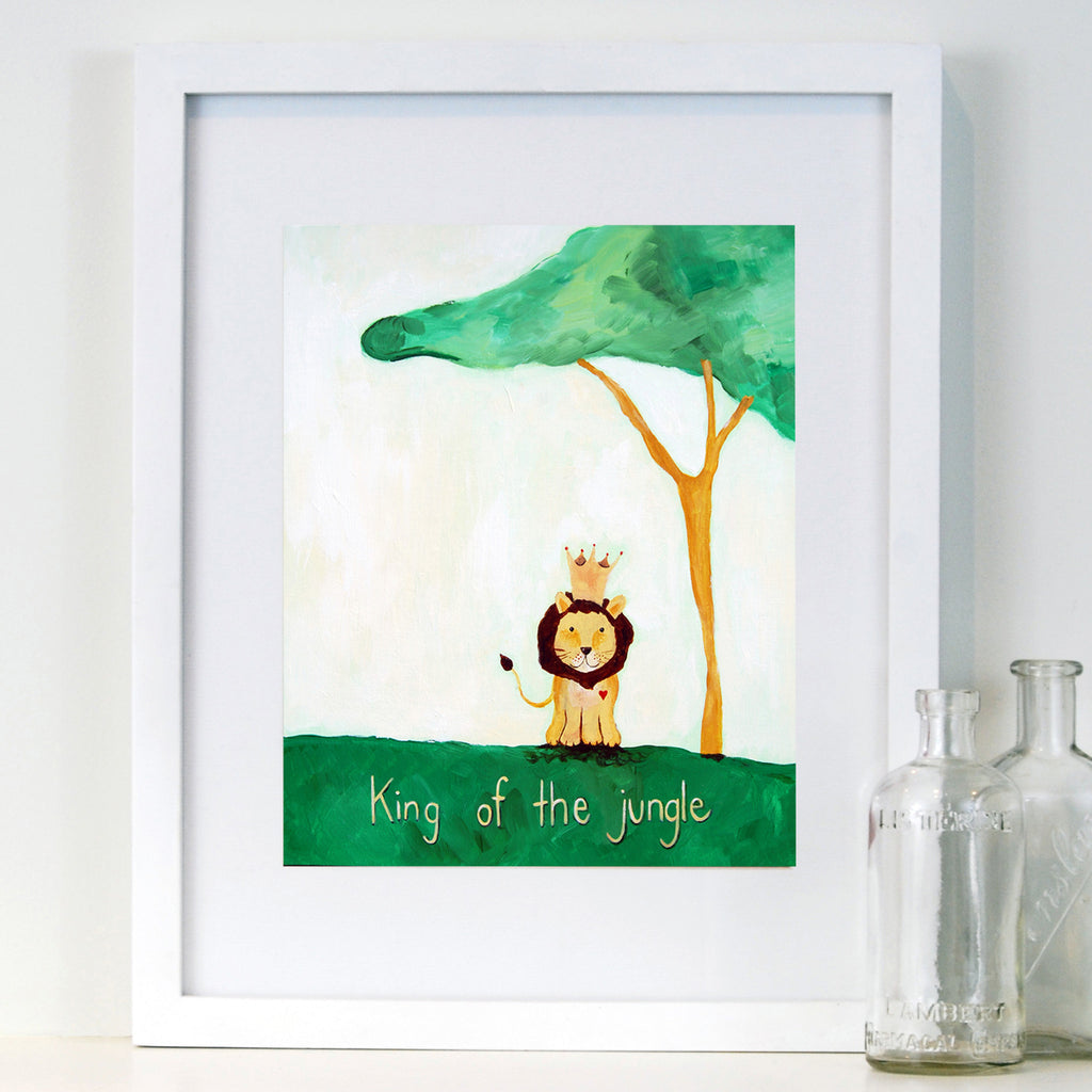 Green - Baby Nursery Wall Quote Art - Lion Art Print for Baby Nursery by Cici Art Factory