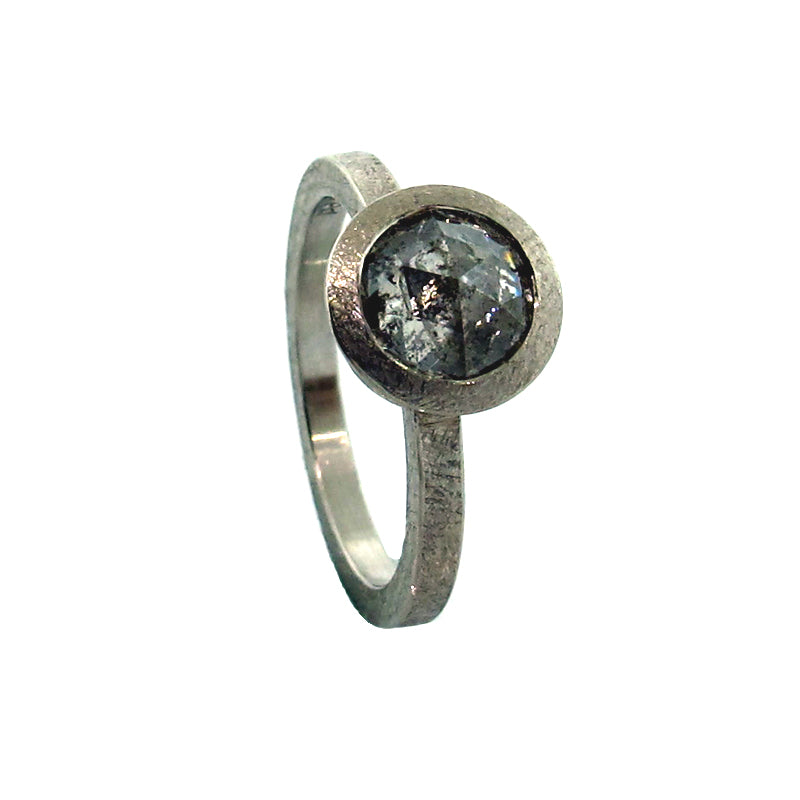 Todd Reed Round Rose Cut Gray Diamond Solitaire