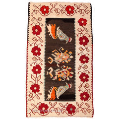 Yugoslavian Kilim Rug with Colourful Bird Motifs