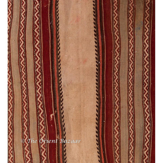 Turkish Kilim Runner With Pale & Red Horizontal Stripes Runners