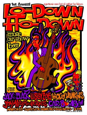 1998 Lo-Down Ho-Down Rockabilly Show Poster - Zen Dragon Gallery