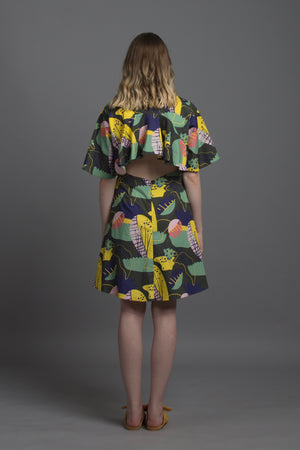 Back Flare Dress in Pod Cacophony Print