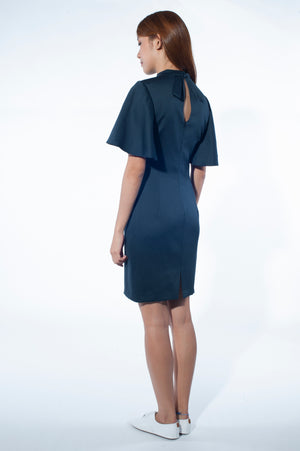 Flared Sleeve Dress with Peplum skirt (Navy)