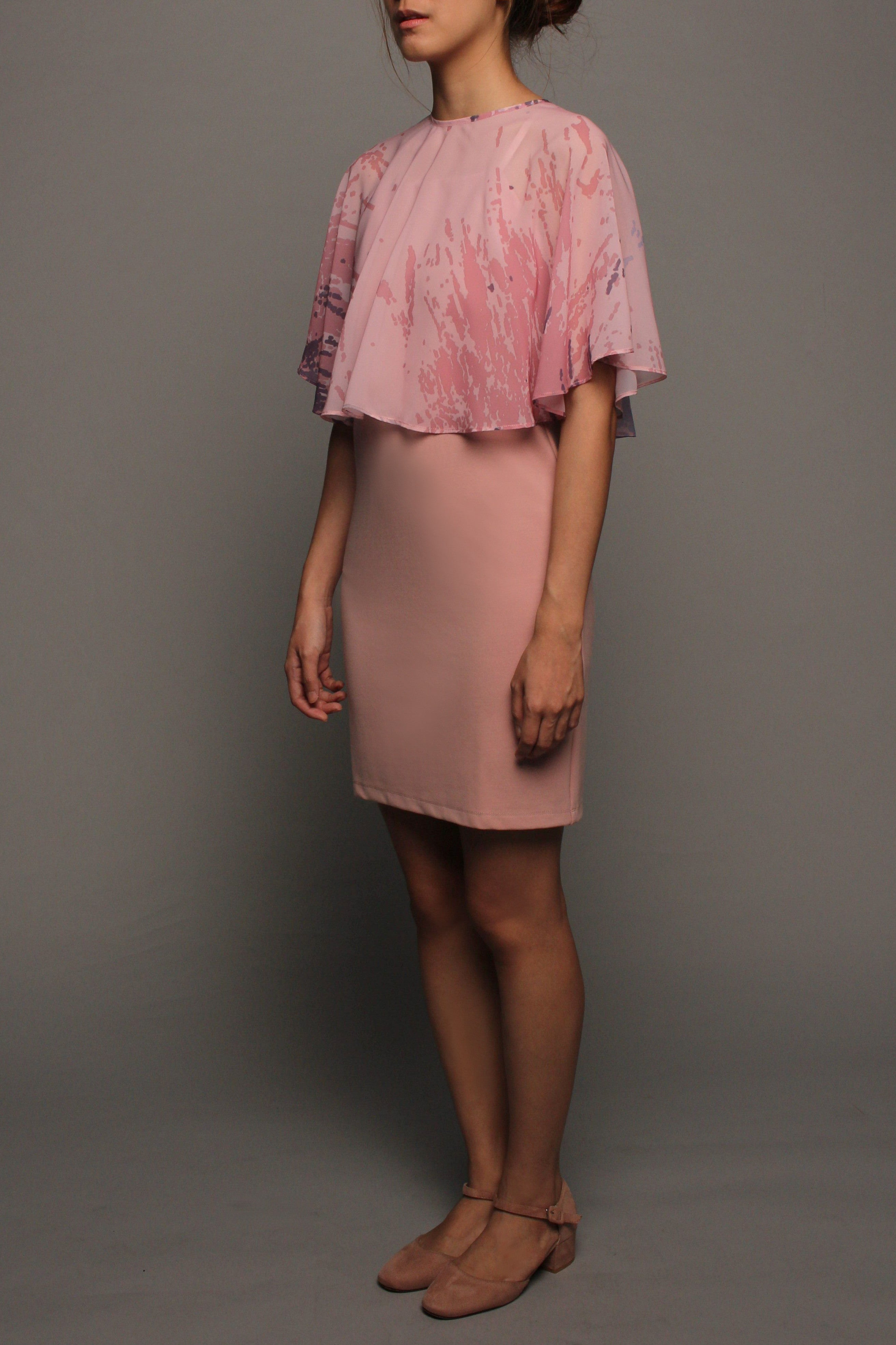Spag Dress with Cape Overlay (Pink with Pink Cape)