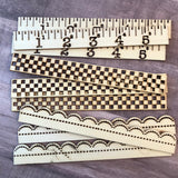 Wood Ruler Borders Prima Scrapbooking Altered Art 9 Pieces