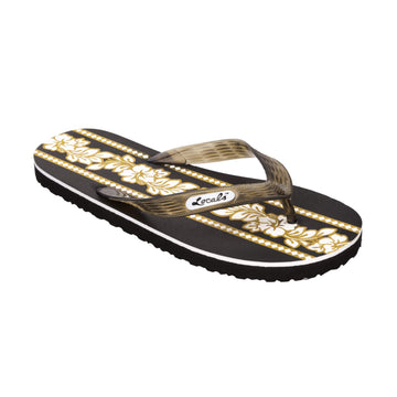 Hibiscus Flower Print Women's Gold Slippa