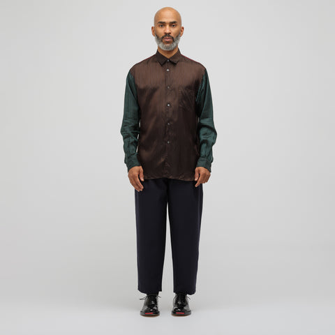 Comme des Garcons Shirt Striped Button-Up Shirt in Brown/Green - Notre