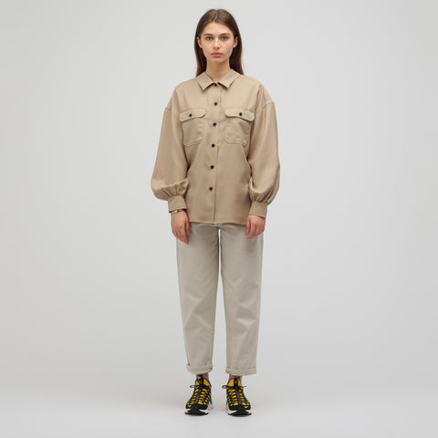 HYKE Woven Button-Up Military Shirt in Tan - Notre