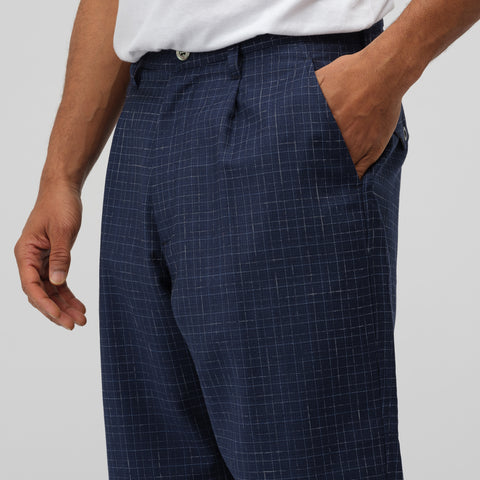Junya Watanabe Tropical Wool Short Pant in Navy Check - Notre