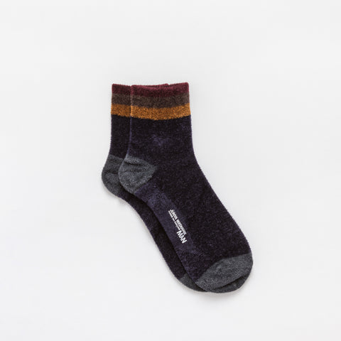 Junya Watanabe Rayon Blend Mini Crew Socks in Navy - Notre