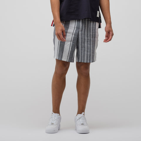 Thom Browne Unconstructed Short in Navy/White - Notre
