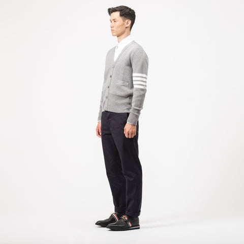 Thom Browne Milano Stitch V-Neck Cardigan in Grey - Notre
