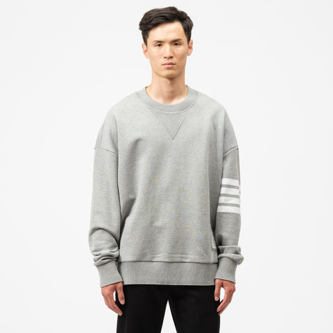 Thom Browne Oversized Classic Crew Sweatshirt in Grey - Notre
