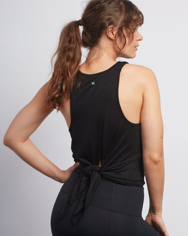 Black Camille Tie-Back Tank - Haven Collective