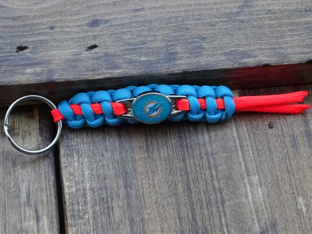 Officially Licensed Miami Dolphins NFL Paracord Mini Keychain
