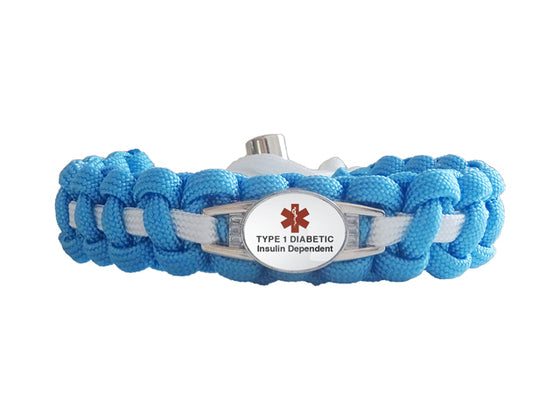 Medical ID Type 1 Diabetic Insulin Dependent Paracord Bracelet