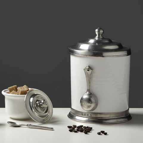 Cosi Tabellini Kaffeedose mit Portionierer Porzellan Italian Pewter, Crystal & Ceramics, Made in Italy