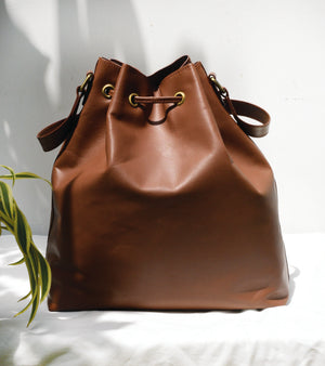 Brown Drawstring Shoulder Bag
