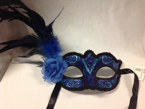 Masquerade Eye Mask - feather and rose