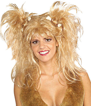Blonde Cavewoman Wig with Bones