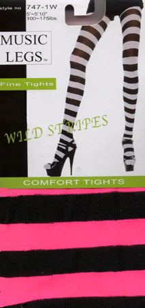 Stripe Tights - Black & Pink