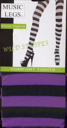 Stripe Tights - Black & Purple