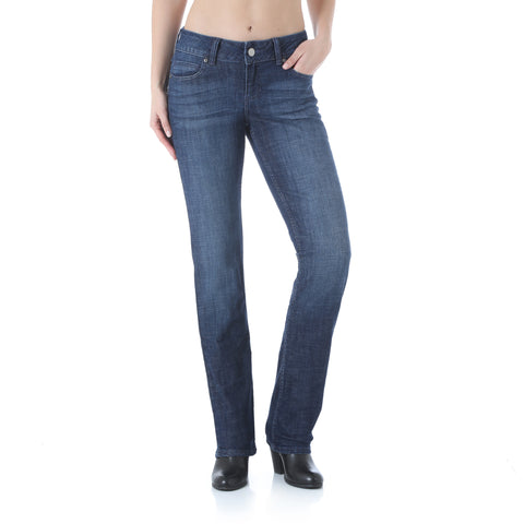 Wrangler Womens Dark Blue Cotton Blend Jeans